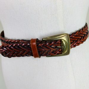 Talbots S Braided Brown Leather Belt Excellent